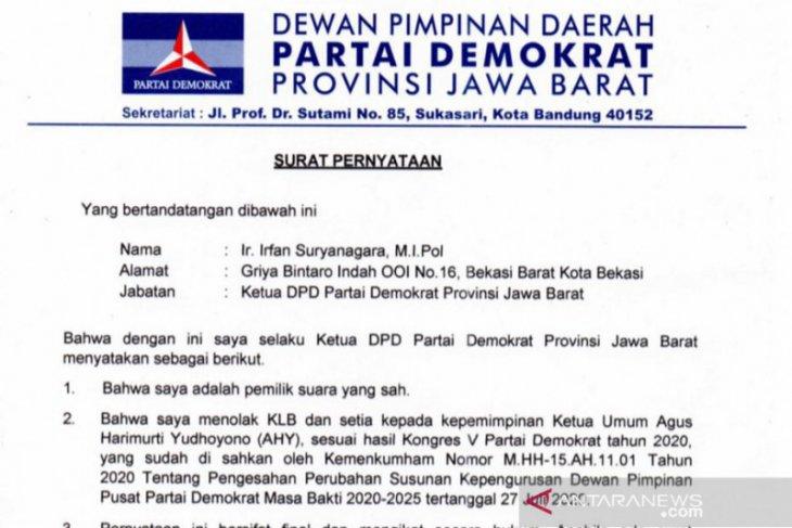 DPD Partai Demokrat Jawa Barat menyerukan delegitimasi KLB