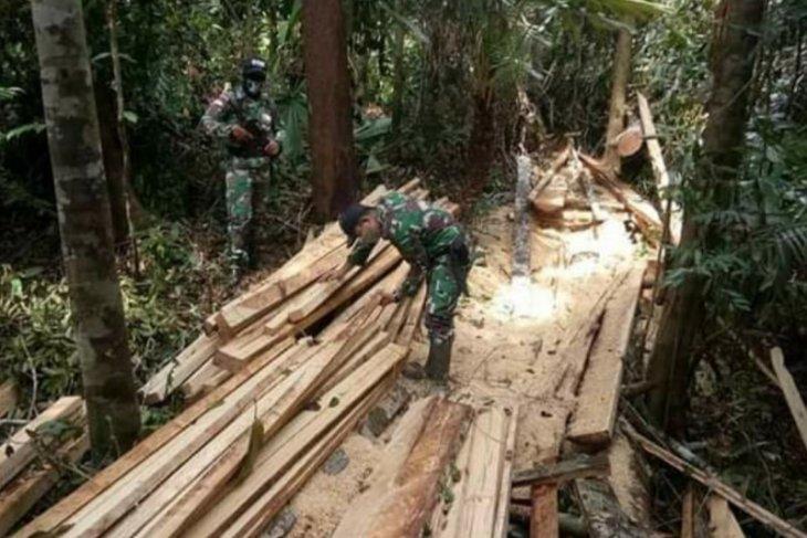Satgas Pamtas amankan kayu olahan ilegal di perbatasan Kalbar