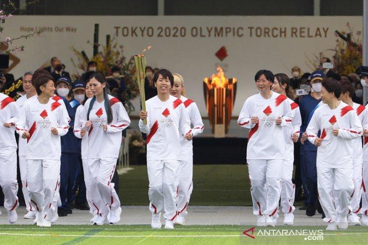 Kirab obor Olimpiade Osaka berlangsung di taman tanpa penonton
