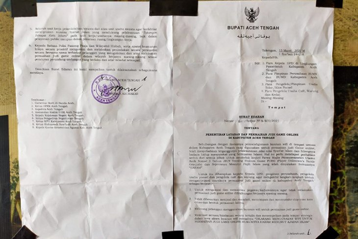 Bupati Aceh Tengah larangan permainan judi online