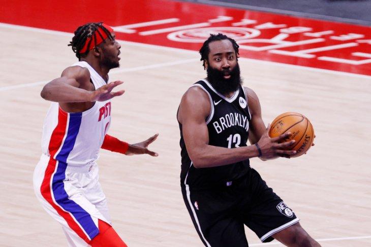 Brooklyn Nets selamat dari tekanan Pistons, James Harden membukukan 44 poin