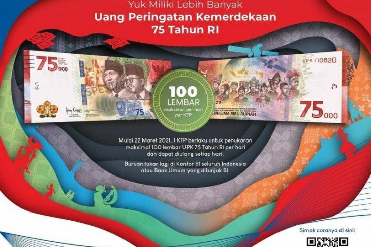 Penukaran  Uang Peringatan Kemerdekaan ke- 75 RI sekarang bisa 100 lembar