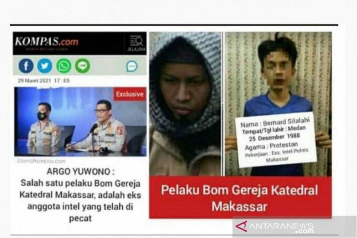 Hoaks! Pengebom gereja di Makassar adalah mantan polisi