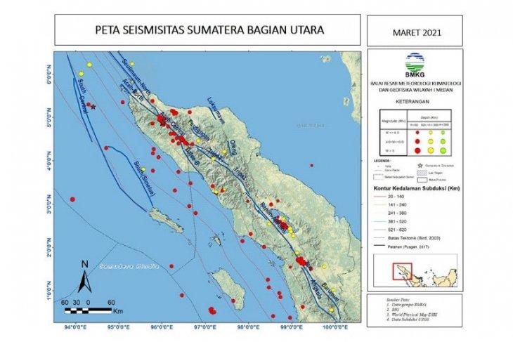 BBMKG catat selama Maret terjadi 131 gempa di  Sumut