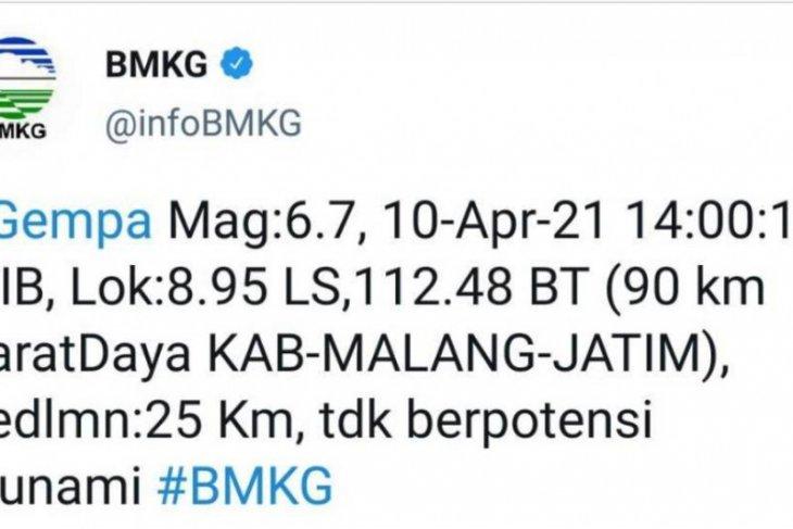 Gempa magnitudo 6,7 picu guncangan sedang hingga kuat di Jatim