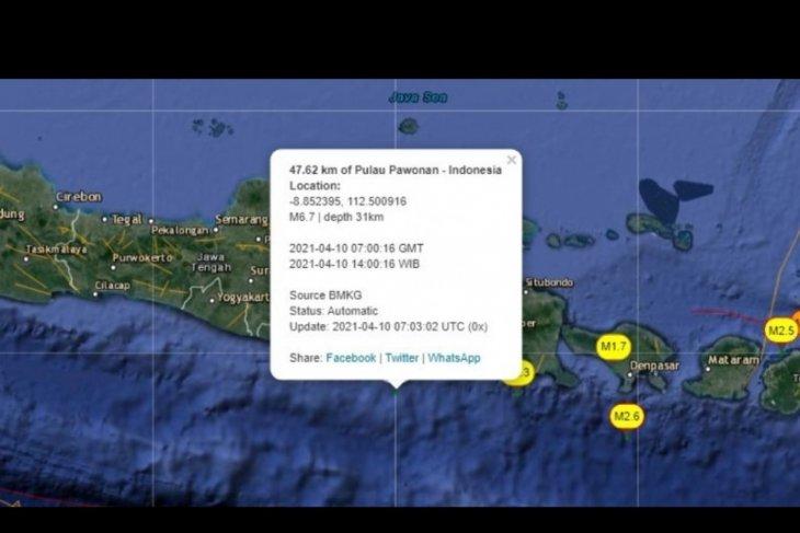 Gempa terasa di sejumlah wilayah Jatim