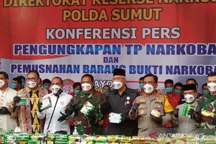 Polda Sumut musnahkan  205 kilogram barang bukti sabu-sabu