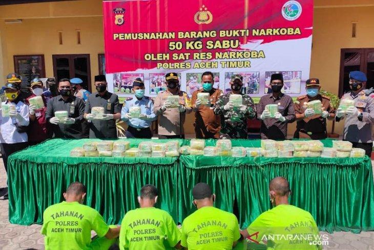 Polres Aceh Timur musnahkan 50 kilogram sabu-sabu