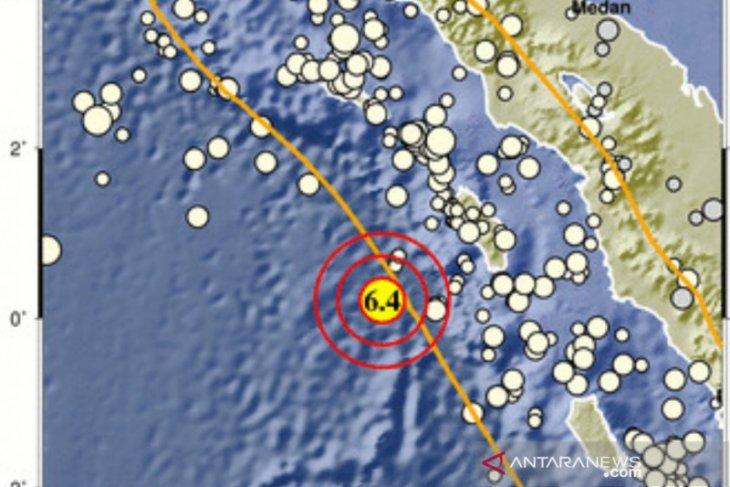 Gempa bermagnitudo 6,4 di barat daya Nias Barat