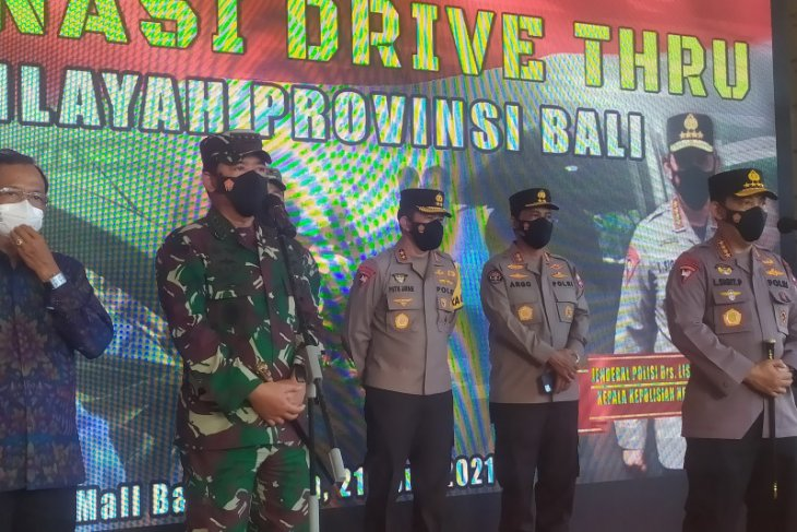 Military, police chiefs review drive-through vaccinations in Bali