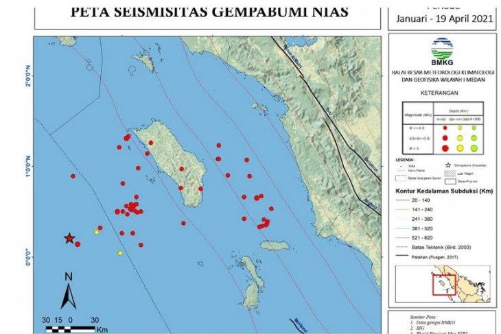 Januari-April 2021, BMKG catat 61 getaran gempa di Kepulauan  Nias