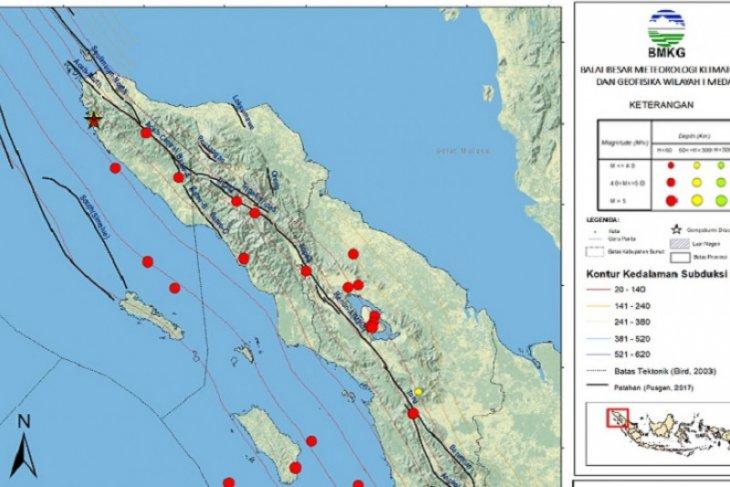BMKG catat 63 gempa di Sumbagut dalam sepekan terakhir