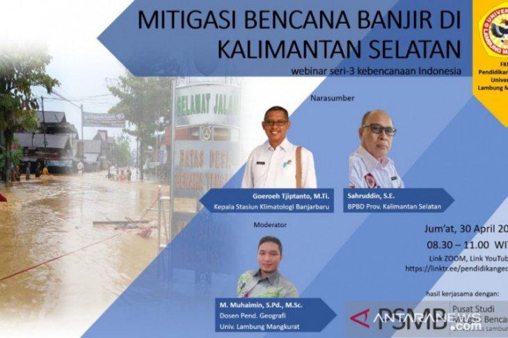 ULM gelar webinar mitigasi bencana banjir di Kalimantan Selatan