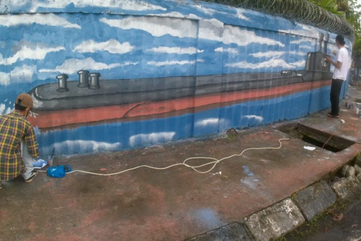 Anak Medan mural KRI Nanggala-402, bentuk penghormatan bagi 53 kesatria penjaga laut Nusantara