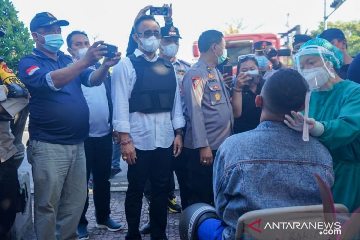 Wali Kota Denpasar tinjau Posko Penyekatan / Larangan Mudik 2021 dengan motor
