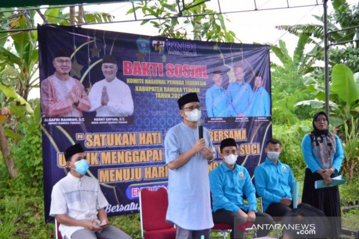 KNPI-PWI Bangka Tengah salurkan 116 paket sembako Ramadhan