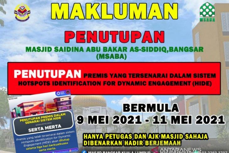 Pemerintah Malaysia menutup dua masjid  yang beresiko tularkan COVID-19