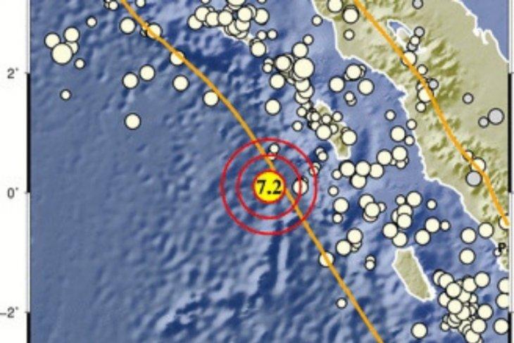 Gempa magnitudo 7,2 goyang Nias Barat tidak berpotensi tsunami
