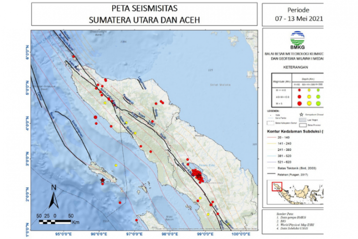 BMKG catat pekan  kedua Mei terjadi 115 gempa di Sumut-Aceh