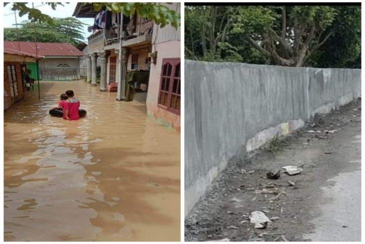 Tembok penahan banjir yang dibangun BPBD tidak berfungsi