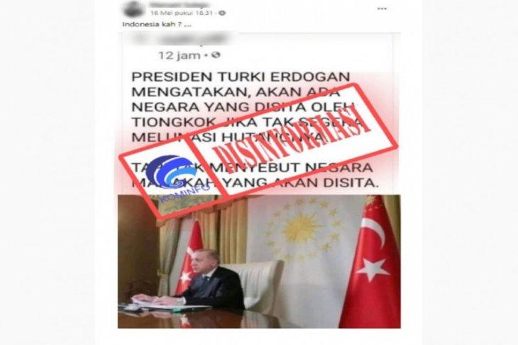 Hoaks, Presiden Turki Erdogan sebut ada negara disita China