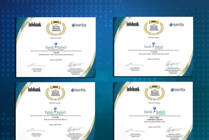 Bank Kalsel raih 4 penghargaan  10 th Infobank Digital Brand Awards 2021