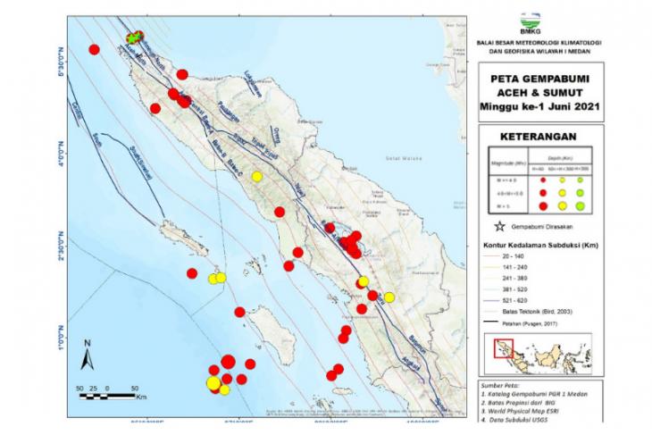BMKG catat 48 gempa di Sumut-Aceh dalam sepekan terakhir