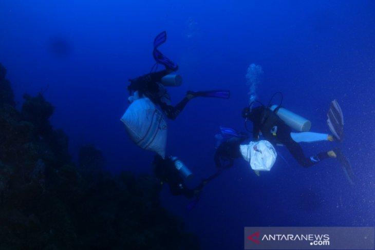 Japesda bersih-bersih sampah plastik di habitat hiu paus Gorontalo