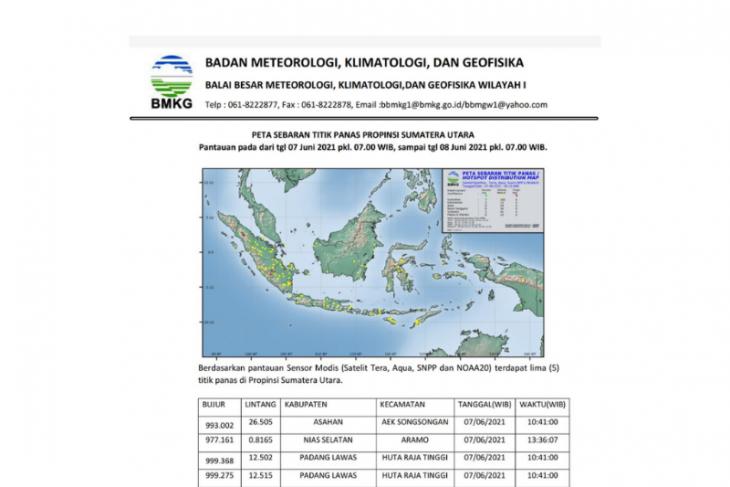 BMKG pantau lima titik panas di Sumatera Utara