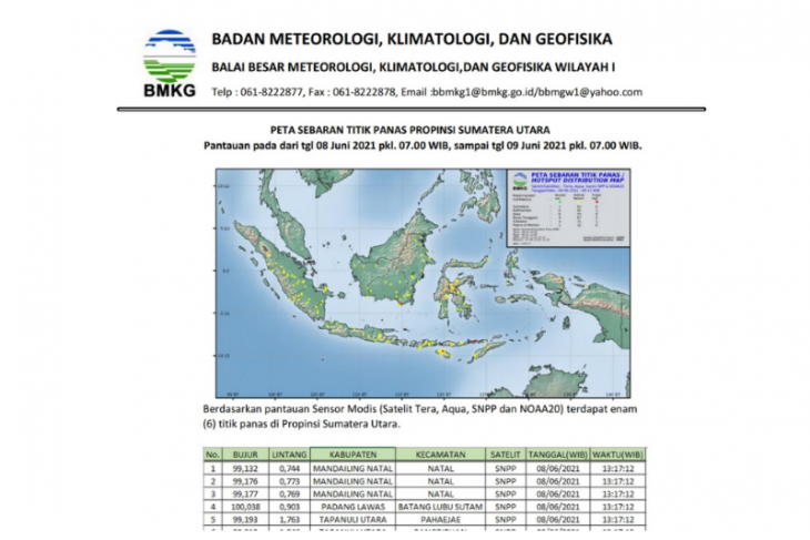 BMKG: Terpantau  enam titik panas di Sumatera Utara