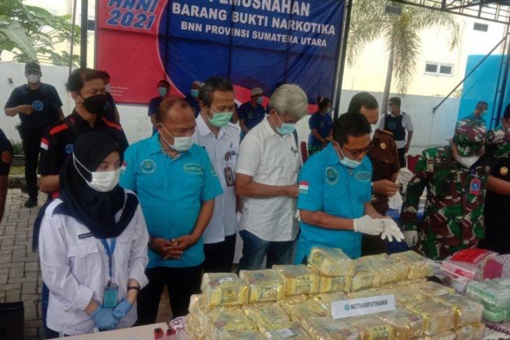 BNN Sumut musnahkan 92 kg sabu dan 62.000 butir ekstasi