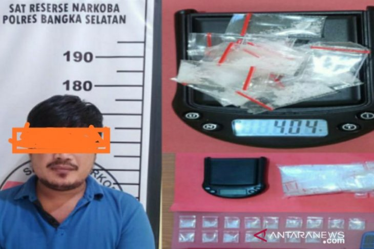 Polres Bangka Selatan tangkap pengedar narkoba di Desa Sadai