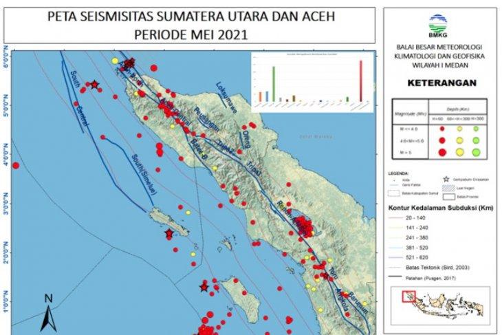 Selama Mei 2021 terjadi 407 gempa di  Sumut-Aceh