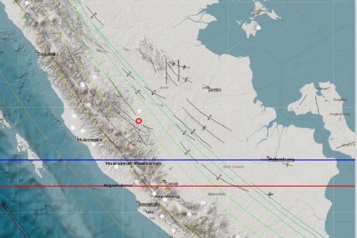 Merangin digoyang gempa magnitudo 4,3 berkedalaman 2KM