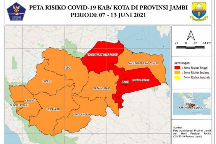 Tiga daerah di Jambi masih zona merah COVID-19
