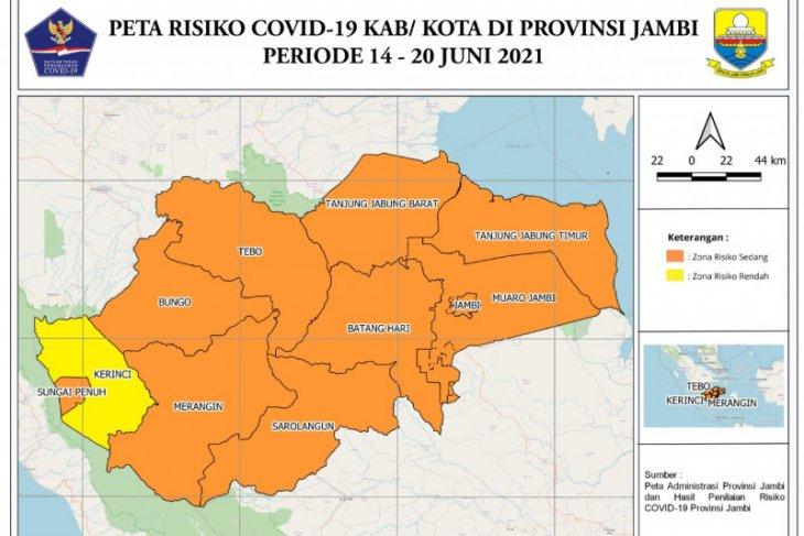 Sepuluh kabupaten/kota di Jambi zona oranye COVID-19