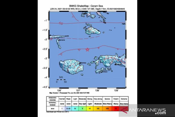 Gempa magnitudo 5,4 guncang  Maluku