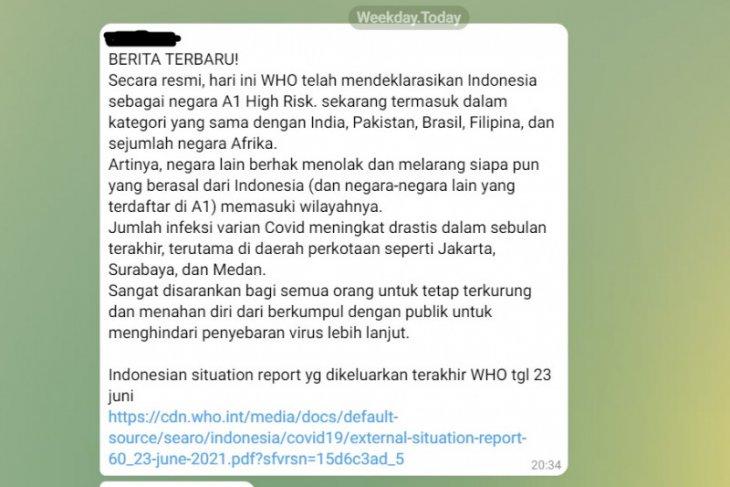 Hoaks, WHO tetapkan status Indonesia A1 risiko COVID-19