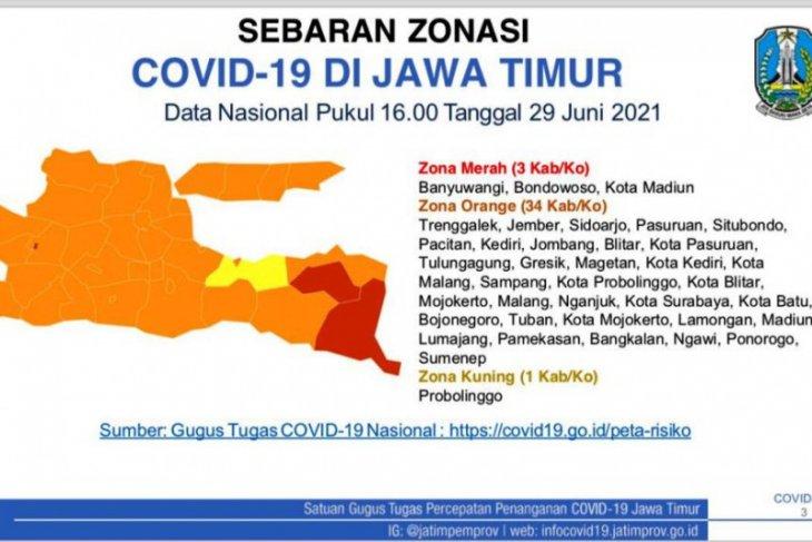 Zona merah Jatim bergeser ke Banyuwangi, Bondowoso, dan Kota Madiun