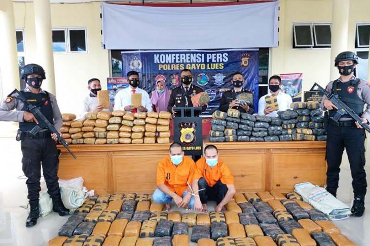 Polres Gayo Lues Aceh gagalkan peredaran 195 kilogram ganja