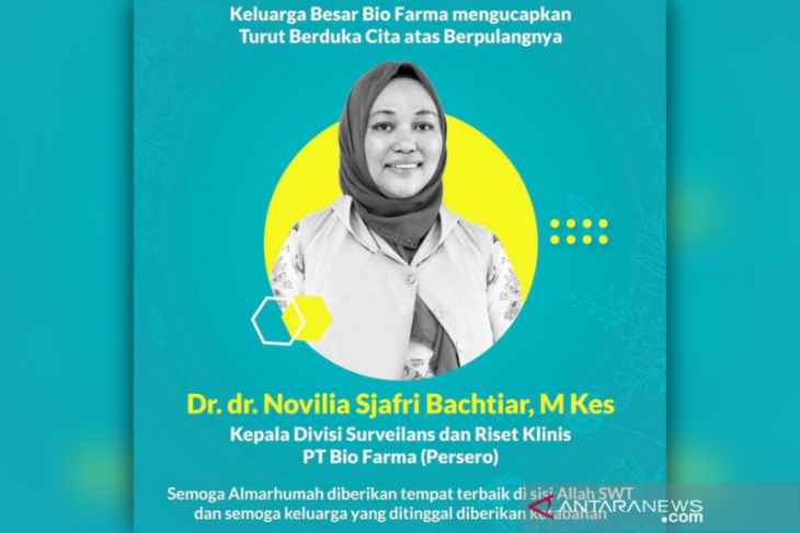 Ketua uji klinis vaksin Bio Farma dr Novilia Sjafri tutup usia