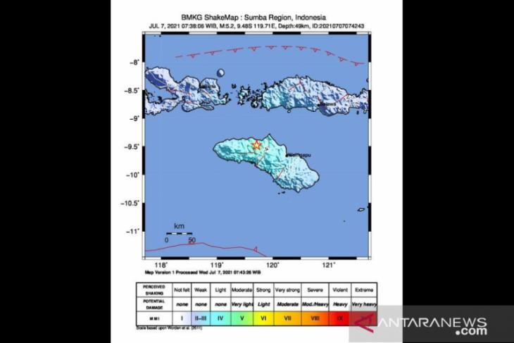 Gempa magnitudo 5,2 guncang Sumba