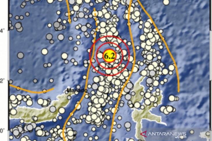 Gempa magnitudo  6,2 guncang Melonguane Sulawesi Utara