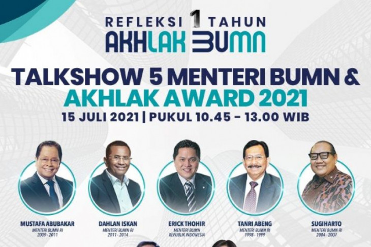 Erick Thohir dan empat mantan Menteri BUMN akan hadiri AKHLAK Award 2021