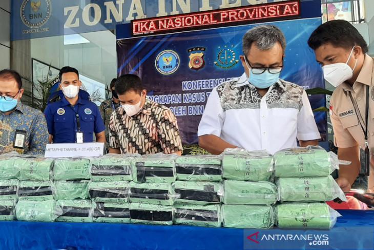 BNNP Aceh gagalkan peredaran 31,4 kilogram sabu-sabu
