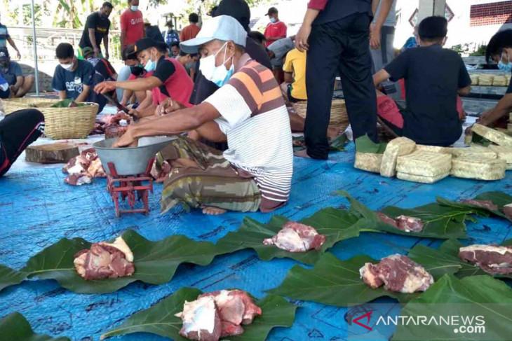 Pembagian daging kurban tanpa kantong plastik di Jember