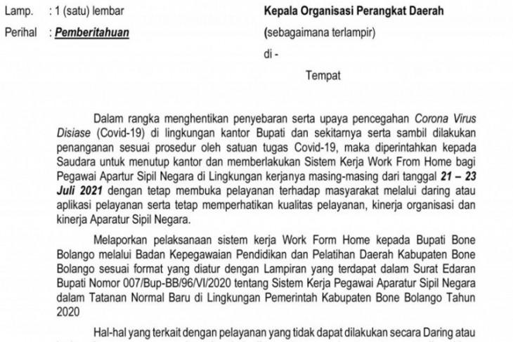 Berlakukan WFH, Kompleks perkantoran Bupati Bone Bolango ditutup sementara
