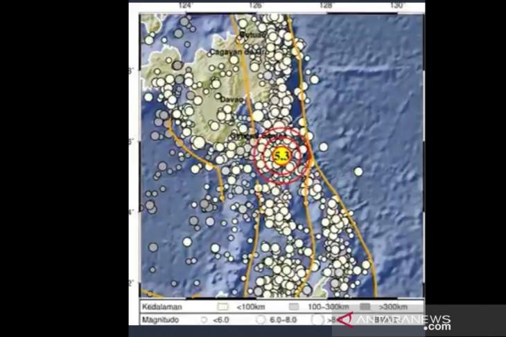 Gempa magnitudo 5,3 guncang Melonguane Talaud