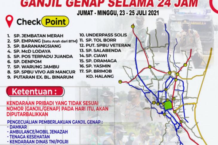 Polresta Bogor Kota siapkan 17 lokasi penyekatan ganjil-genap kendaraan bermotor