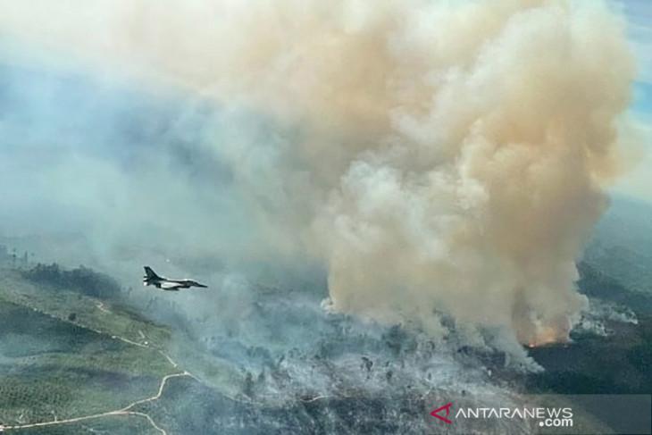 Mengerikan penampakan luasnya kebakaran hutan dan lahan terlihat dari jet tempur F-16